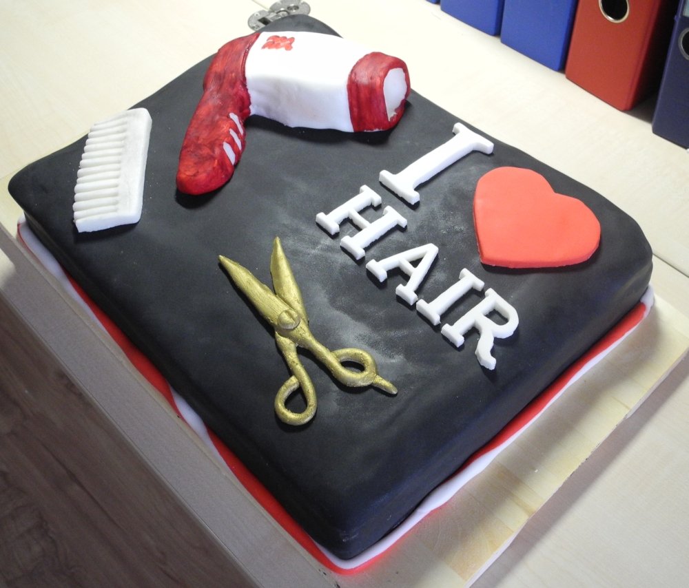 Torte zur er ffnung eines friseurgesch fts kuchenkr mel for Salon cake design